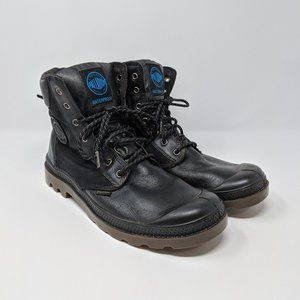 Palladium Black Leather Canvas Waterproof Boots